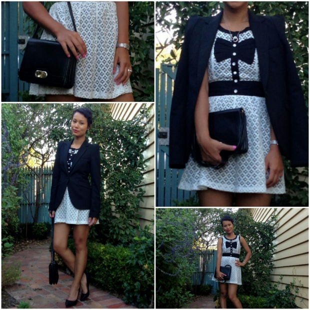 Day 64: I wore a mini black and white dress, black blazer, black pumps and black 70's vintage handbag