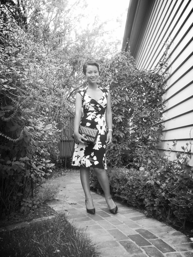 Day 66: I wore a black and white floral dress, black pumps and chanel bag