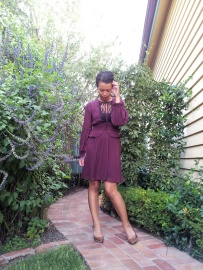 Day 79 - I am wearing a purple chiffon peplum dress, tan pumps and Burberry hobo bag.