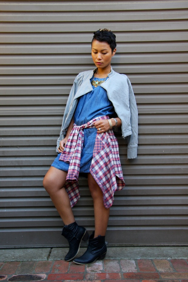I'm wearing: Dress by Yessica | Denim biker jacket by Bardot | Tartan shirt by Topshop | Boots by Spurr | Statement necklace by Lovisa | Bag by Burberry