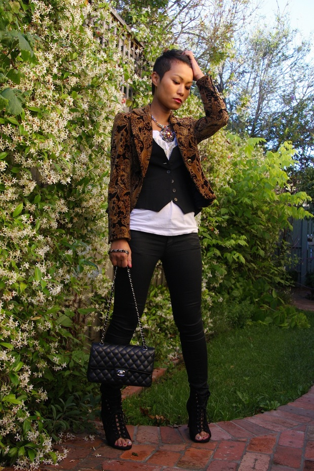 I'm wearing: T-shirt by DKNY | Jeans from H&M | Vest by Satch | Blazer by Georgiou | Booties by Boston Babes | Bag by Chanel