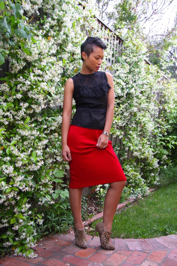 Im Wearing: Top by Leonard St | Skirt by St John | Booties by Asos