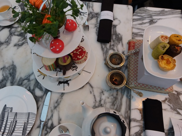 Mad hatters themed high tea at the Sanderson Hotel