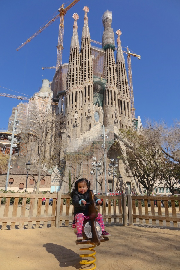 In the playground across the road from Sagrada Familia